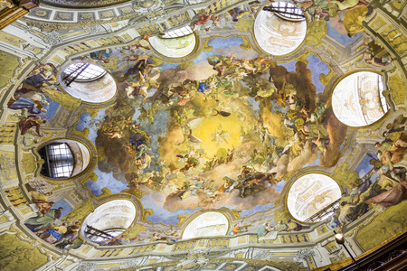 est: VIENNA, AUSTRIA - APR 24, 2015:  ceiling of the beautiful Austrian National Library in Vienna, Austria. Est in 18th century, the largest library in Austria with 7.4 mill items. Editorial