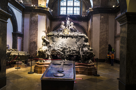 crypt: VIENNA, AUSTRIA - APR 26, 2015:  crypt of the Habsburger Kings in Vienna, Austria. The bones of 145 Habsburg royalty, plus urns containing the hearts or cremated remains of four others, are here. Editorial