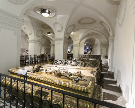 cremated: VIENNA, AUSTRIA - APR 26, 2015:  crypt of the Habsburger Kings in Vienna, Austria. The bones of 145 Habsburg royalty, plus urns containing the hearts or cremated remains of four others, are here. Editorial