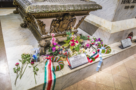 cremated: VIENNA, AUSTRIA - APR 26, 2015:  crypt of the Habsburger Queen Elisabeth called Sisi in Vienna, Austria. The bones of 145 Habsburg royalty, plus urns containing the hearts or cremated remains of four others, are here.