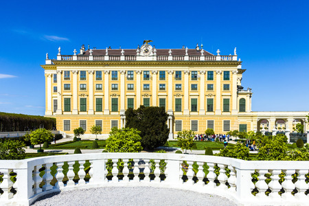 schloss schoenbrunn: VIENNA, AUSTRIA - APRIL 24, 2015: Schonbrunn Palace with prince garden view in Vienna, Austria.  The former imperial summer residence is  Viennas most visited tourist attraction.