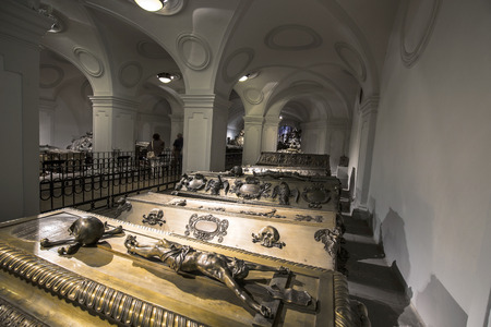 habsburg: VIENNA, AUSTRIA - APR 26, 2015:  crypt of the Habsburger Kings in Vienna, Austria. The bones of 145 Habsburg royalty, plus urns containing the hearts or cremated remains of four others, are here. Editorial