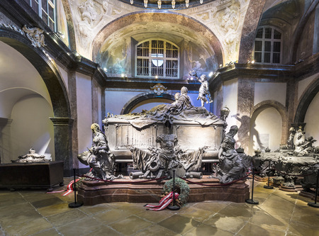 crypt: VIENNA, AUSTRIA - APR 26, 2015:  crypt of the Habsburger  Queen Maria Theresia in Vienna, Austria. The bones of 145 Habsburg royalty, plus urns containing the hearts or cremated remains of four others, are here.