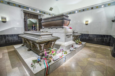 elisabeth: VIENNA, AUSTRIA - APR 26, 2015:  crypt of the Habsburger Queen Elisabeth called Sisi in Vienna, Austria. The bones of 145 Habsburg royalty, plus urns containing the hearts or cremated remains of four others, are here.