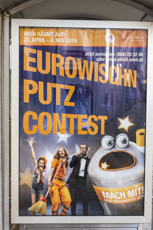 putz: VIENNA, AUSTRIA - APR 27, 2015: viennas city cleaning advertisinguses the european song festival as ad for clean citiesin Vienna, Austria. Conchita Wurst was the winner in the last year.