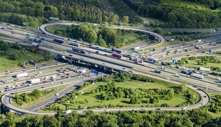 autobahn: FRANKFURT, GERMANY - MAY 7, 2015: aerial of Frankfurt Cross in Frankfurt, Germany.  The interchange was originally  built from 1931 to 1933. Editorial