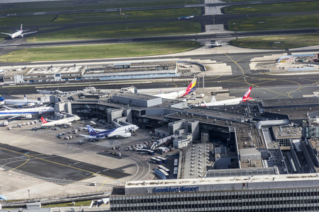 FRANKFURT, GERMANY - MAY 7, 2015: aerial of airport in Frankfurt Germany. The new runway opened in APR 2012 and causes a lot of polictical discussion because of heravy noise.