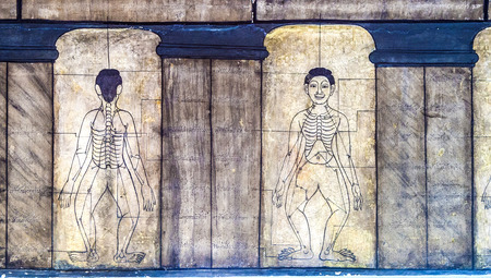 po: Medicine illustration mural in Wat Po, Bangkok, Thailand Stock Photo