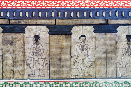 acupuncture: Medicine illustration mural in Wat Po, Bangkok, Thailand Stock Photo