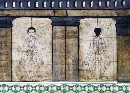 oriental medicine: Medicine illustration mural in Wat Po, Bangkok, Thailand Stock Photo