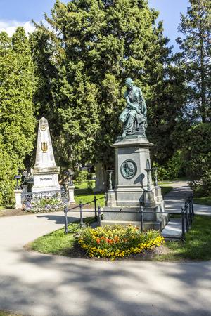 composers: VIENNA, AUSTRIA - APR 26, 2015: Mozart Memorial in Zentralfriedhof, Vienna, Austria.
