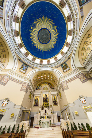 chappel: VIENNA, AUSTRIA - APR 26, 2015: inside the chappel Karl Borromaeus of the central cemetery in Vienna, Austria. Architect Max Hegele finalized the church in 1911.