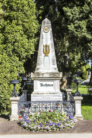 beethoven: VIENNA, AUSTRIA - APR 26, 2015: Last Resting Place of composer Ludwig van Beethoven Grave at the Vienna Central Cemetery in Vienna, Austria.