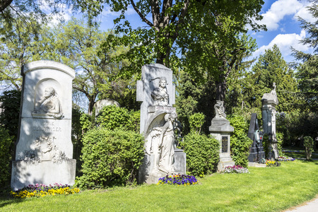 VIENNA, AUSTRIA - APR 26, 2015: Last Resting Place of famous people at the Vienna Central Cemetery in Vienna, Austria. The area is blocked for famous people.