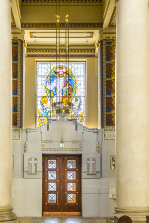 finalized: VIENNA, AUSTRIA - APR 26, 2015: inside the chappel Karl Borromaeus of the central cemetery in Vienna, Austria. Architect Max Hegele finalized the church in 1911.