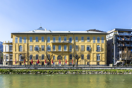 deed: BAD ISCHL, AUSTRIA - APR 21, 2015: old city  at traun river in Bad Ischl, Austria. A settlement area since the Hallstatt culture Bad Ischl was first mentioned in a 1262 deed as Iselen Editorial