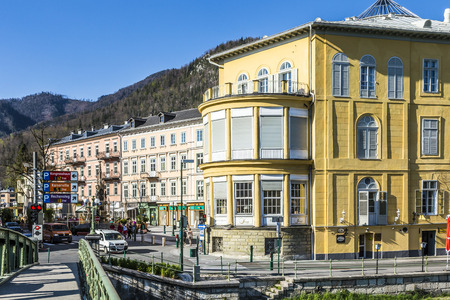 mentioned: BAD ISCHL, AUSTRIA - APR 21, 2015: old city  at traun river in Bad Ischl, Austria. A settlement area since the Hallstatt culture Bad Ischl was first mentioned in a 1262 deed as Iselen Editorial