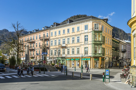 mentioned: BAD ISCHL, AUSTRIA - APR 21, 2015: old city  at traun river in Bad Ischl, Austria. A settlement area since the Hallstatt culture Bad Ischl was first mentioned in a 1262 deed as Iselen. Editorial