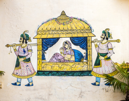 UDAIPUR, INDIA - OCT 21, 2012: famous wall paintings show princess in a sedan carried by guides in ancient times in Udaipur, India. Editorial