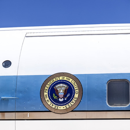 pima: TUSCON, USA - JUNE 13, 2012: seal of the President of the united states at airforce Number one in Tuscon, USA.