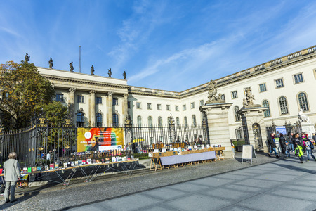 founded: BERLIN, GERMANY - OCT 27, 2014: View of Humboldt University of Berlin. Humboldt University is one of Berlin oldest universities, founded in 1810.
