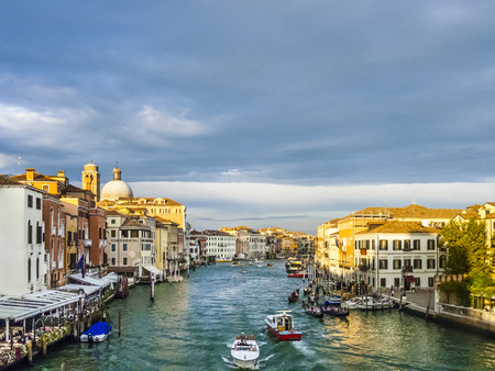 VENICE, ITALY - SEP 13, 2014: Grand Canal in Venice Italy. The canale grande is the main transportation canal in Venice.