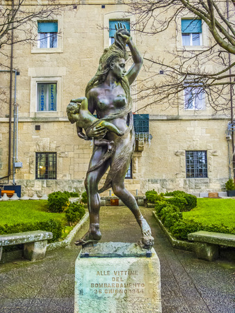 bombing: SAN MARINO, ITALY - JAN 4, 2014: statue to remember the WW 2 and the bombing on June 26, 1944 in San Marino, Italy.