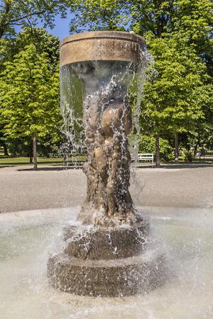 richard: BAD NAUHEIM, GERMANY - JUNE 4, 2015: fountain Adam and eve in paradise in Bad Nauheim, Germany. Artist Richard Hess created the fountain in 1980. Editorial
