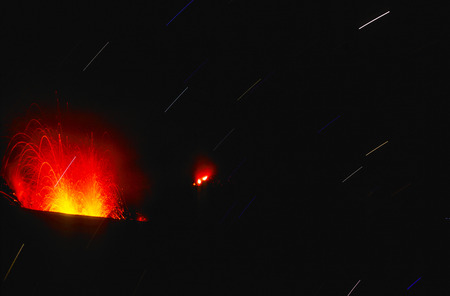 lipari: eruption of volcano stromboli at lipari islands, Italy