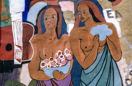 COPENHAGEN, DENMARK -DEC 1, 1997: replica of Paul Gauguins painting two haitian women at a wall in Copenhagen, Denmark.
