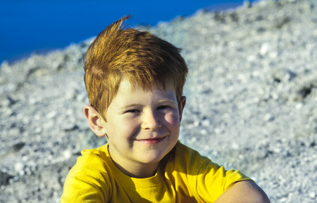 lipari: cute boy on a volcano tour in Italy on the stromboli Stock Photo
