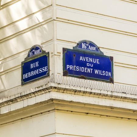 wilson: Paris, Paris - Avenue du President Wilson, Rue Debrousse - old street sign