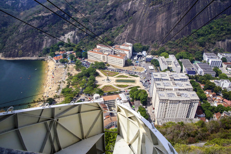 rio de janeiro: RIO DE JANEIRO-  BRAZIL - JAN 30, 2015: Overhead cable car over Sugarloaf Mountain, Rio De Janeiro, Brazil. Editorial