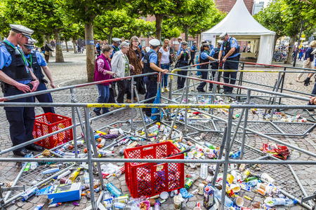 roemer: FRANKFURT, GERMANY - JUNE 26, 2015: people at the security check  for the visit of queen Elizabeth II at the Roemer market square in Frankfurt, Germany. Bottles are forbidden. Editorial