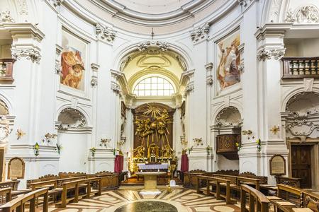 SALZBURG, AUSTRIA - APR 21, 2015: inside the Trinity-Church in Salzburg, Austria. The church was built between 1694 and 1702.