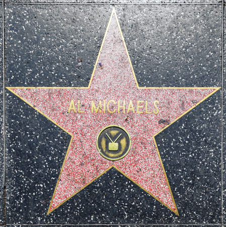 county side: HOLLYWOOD - JUNE 26: Al Michaels star on Hollywood Walk of Fame on June 26, 2012 in Hollywood, California. This star is located on Hollywood Blvd. and is one of 2400 celebrity stars.
