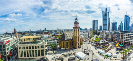 plazas: FRANKFURT, GERMANY - JUNE 25, 2015: Aerial view of Frankfurt from Galeria Kaufhof at Hauptwachen. The Hauptwache is a central point and one of the most famous plazas of Frankfurt.