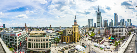 plazas: FRANKFURT AM MAIN, GERMANY - JUNE 26, 2015: Aerial view of Frankfurt from Galeria Kaufhof at Hauptwachen. The Hauptwache is a central point and one of the most famous plazas of Frankfurt. Editorial