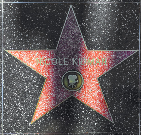blvd: HOLLYWOOD - JUNE 26: Nicole Kidmans star on Hollywood Walk of Fame on June 26, 2012 in Hollywood, California. This star is located on Hollywood Blvd. and is one of 2400 celebrity stars.