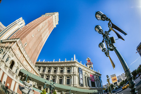 gondoliers: lAS VEGAS - JUNE 15, 2012: The Venetian Resort Hotel & Casino. The resort opened on May 3, 1999 with flutter of white doves, sounding trumpets, singing gondoliers and actress Sophia Loren.