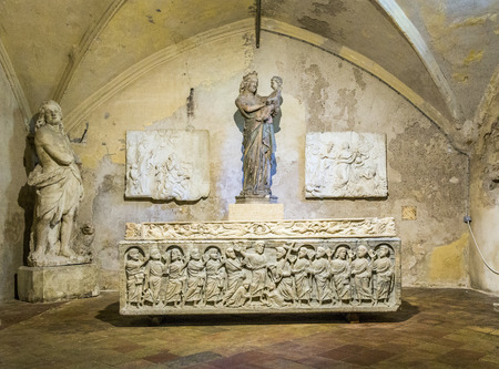 beheaded: AIX EN PROVENCE, FRANCE, JULY 8, 2015: legendary sarcophagus of the martyr Saint Mitre in Aix, France. He was beheaded, picked up his head and carried it to an another Aix church.