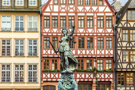 roemerberg: Justitia - Lady Justice - sculpture on the Roemerberg square in Frankfurt, built 1887