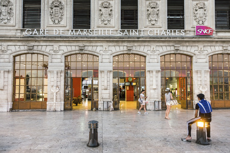 france station: MARSEILLE, FRANCE, JULY 10, 2015: View of Saint Charles train station in Marseilles, France. The Station opened in 1848 .
