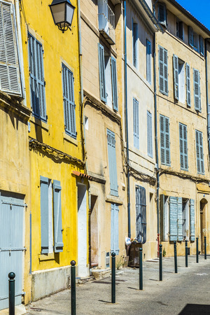 fasade: Provence typical city Aix en Provence with old house facade