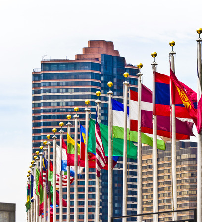 un: flags of members of UN in New York, America Stock Photo