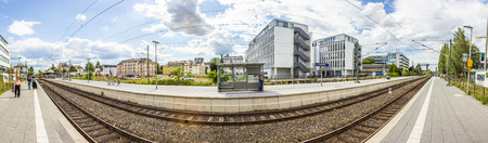 maschine: FRANKFURT, GERMANY - JULY 30, 2015: train station for S-BahnRoedelheim in Frankfurt, Germany. The train station was inaugurated in 1874.