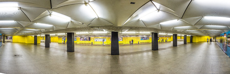 maschine: FRANKFURT, GERMANY - JULY 30, 2015: metro station for S and U-Bahn Eschenheimer Turm in Frankfurt, Germany. The Metro station was inaugurated 1978 after 8 years under construction. Editorial