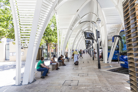 bus station: AIX EN PROVENCE, FRANCE - JULY 8, 2015: modern Bus station Gare Routiere in Aix en Provence, France. The new Staion designed by Duthilleul opened at June 17, 2014.