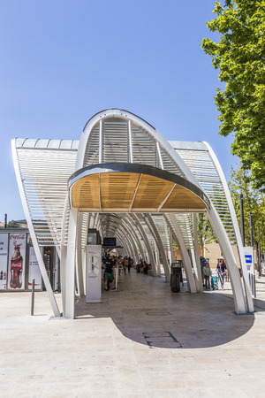 france station: AIX EN PROVENCE, FRANCE - JULY 8, 2015: modern Bus station Gare Routiere in Aix en Provence, France. The new Staion designed by Duthilleul opened at June 17, 2014.