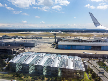 noise pollution: FRANKFURT, GERMANY - JULY 29, 2015: aerial of airport in Frankfurt Germany. The new runway opened in APR 2012 and causes a lot of polictical discussion because of heravy noise.